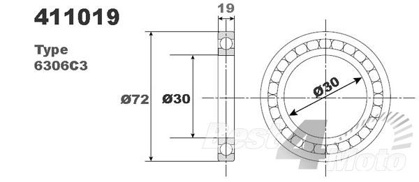 ROULEMENT MOTEUR VILEBREQUIN BOITE 6306C3 30X72X19 NTN