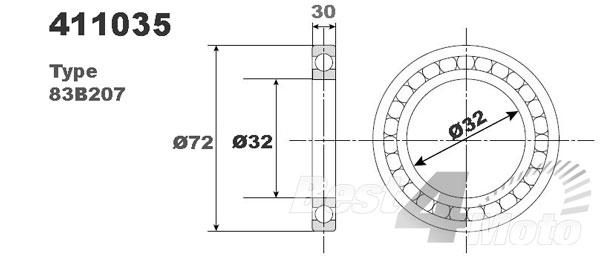 ROULEMENT DOUBLE RANGEE VILEBREQUIN BOITE 83B207 32X72X30 PROX