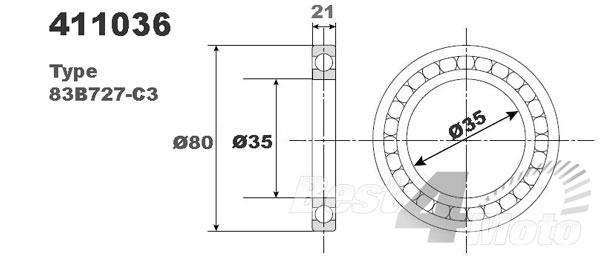 ROULEMENT MOTEUR VILEBREQUIN 83B727-C3 35X80X21 PROX