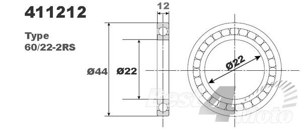 ROULEMENT ROUE 22X44X12 60/22-2RS NTN