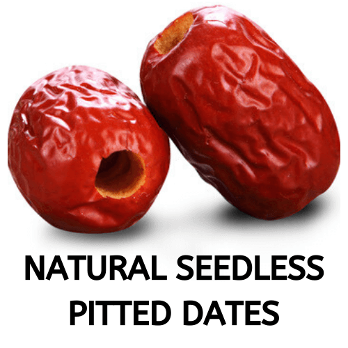 Natural seedless pitted-dates