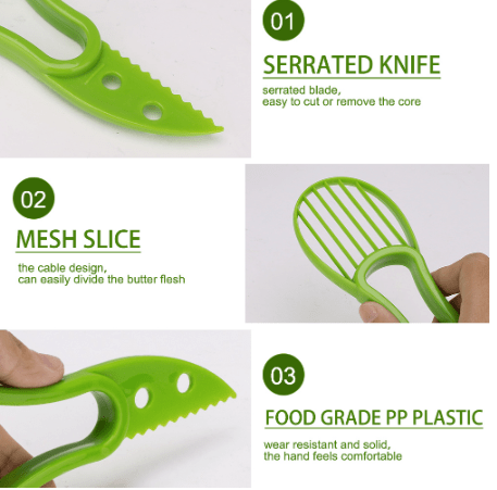 3 In 1 Avocado Slicer Shea Corer Butter Fruit Peeler Cutter Pulp Separator Plastic Knife Kitchen Vegetable Tools Home Accessory