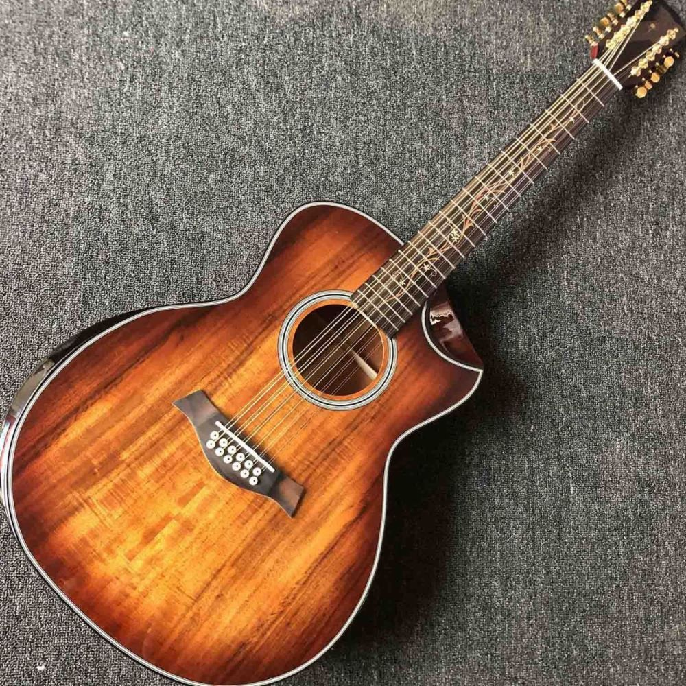 Custom 12 Strings All KOA Wood Round Body Rosewood Fingerboard Acoustic Guitar with Armrest