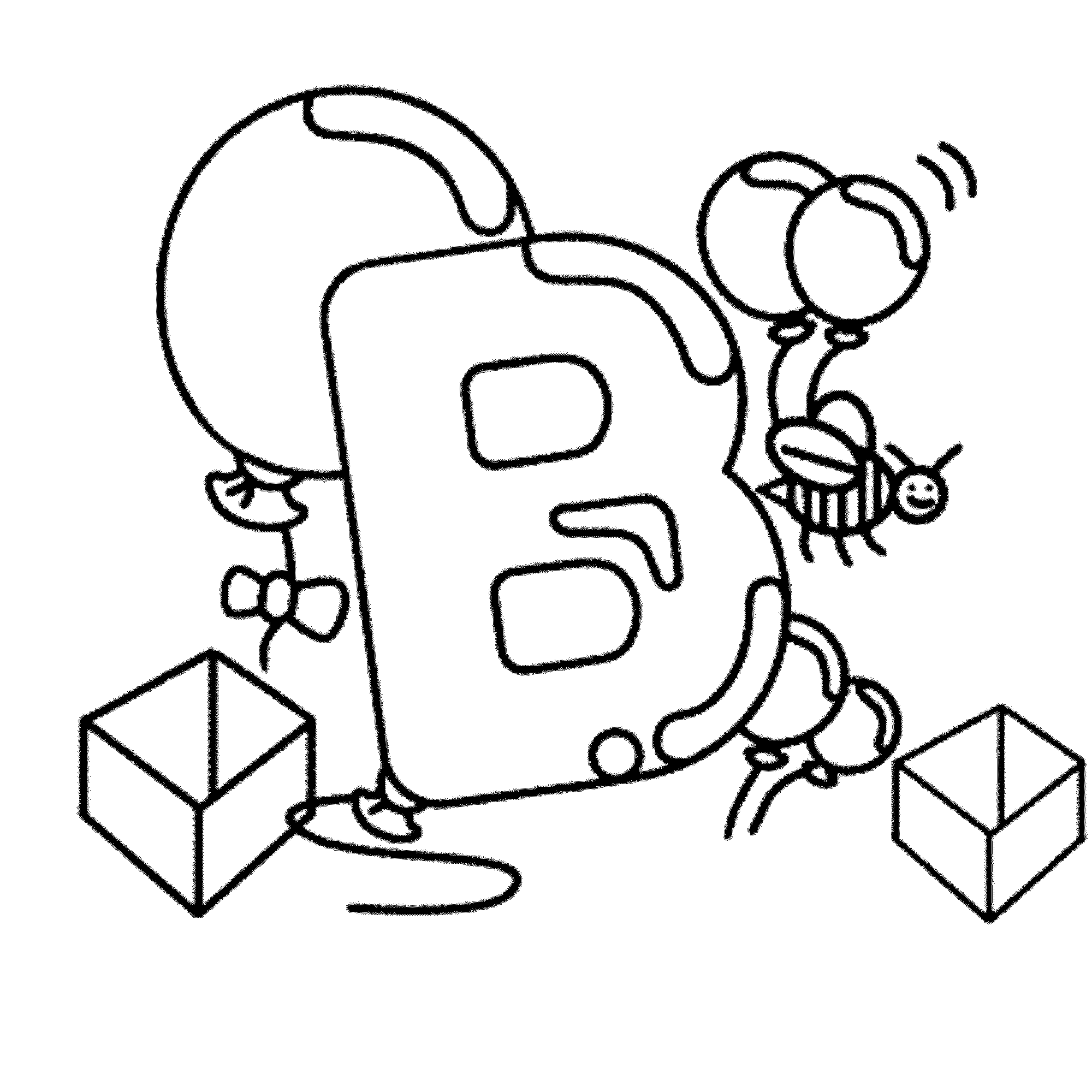 Letter B Baloon Coloring Pages Alphabet