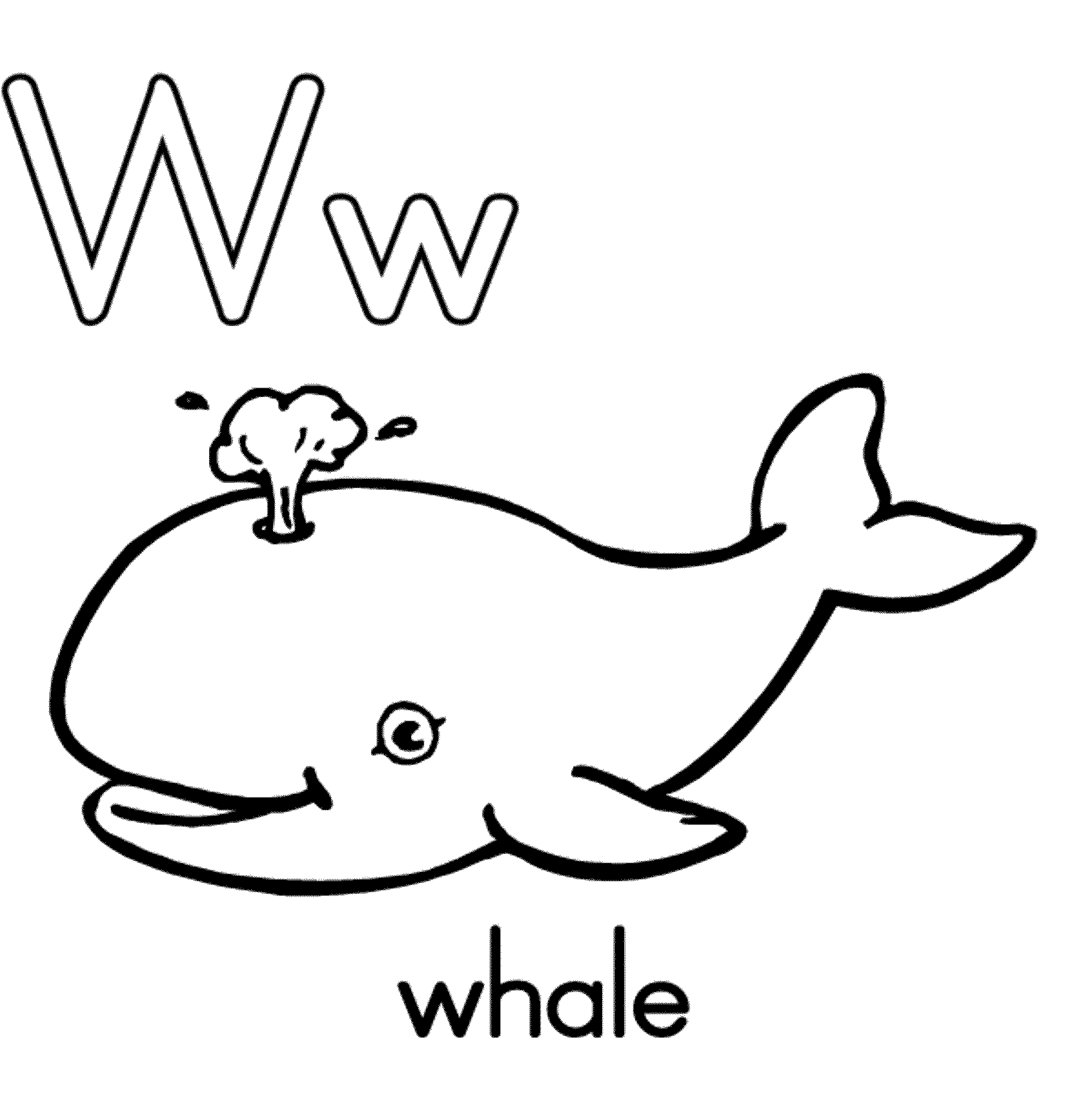Letter W Whale Coloring Pages Alphabet