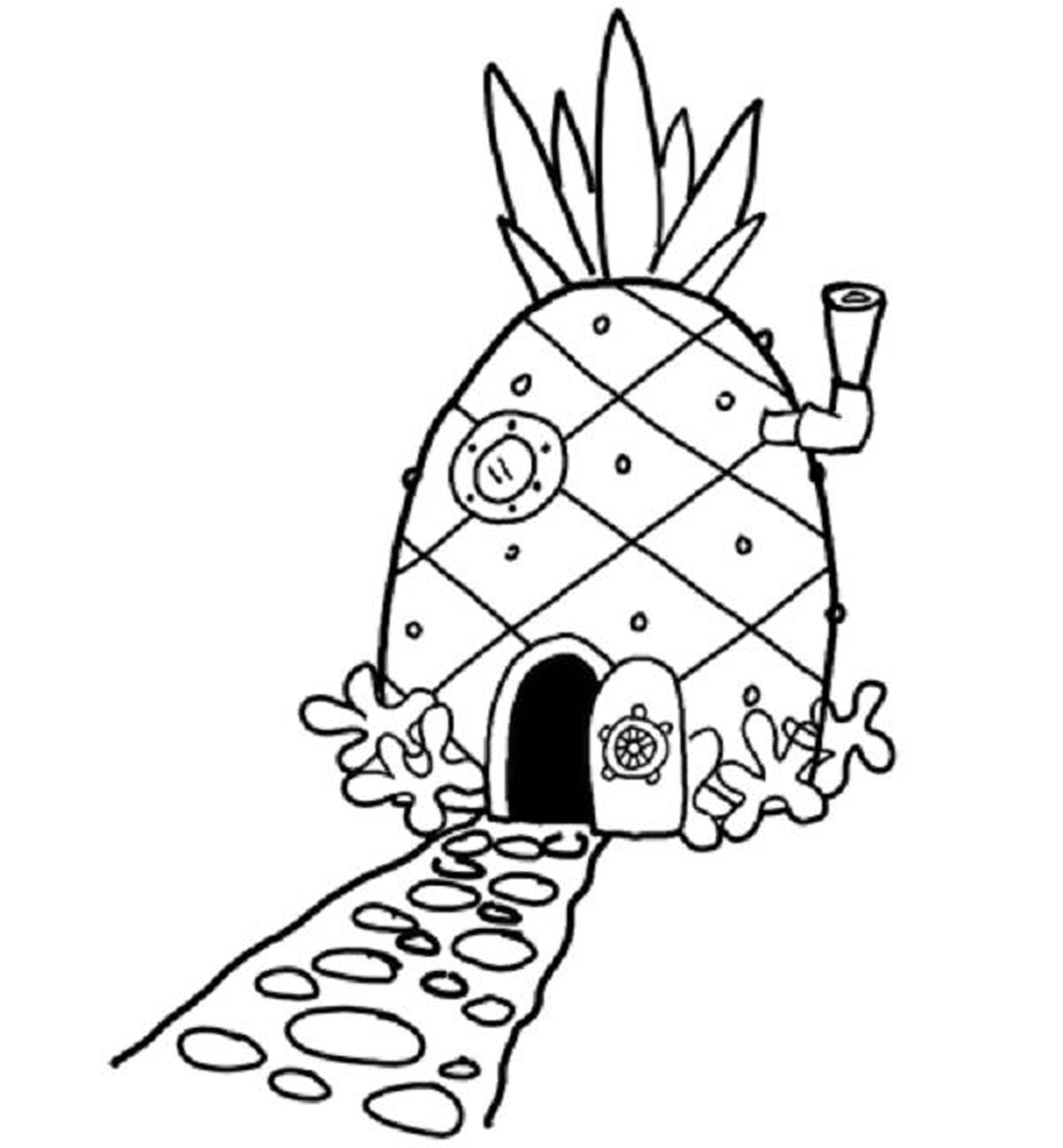 Spongebob House Coloring Page