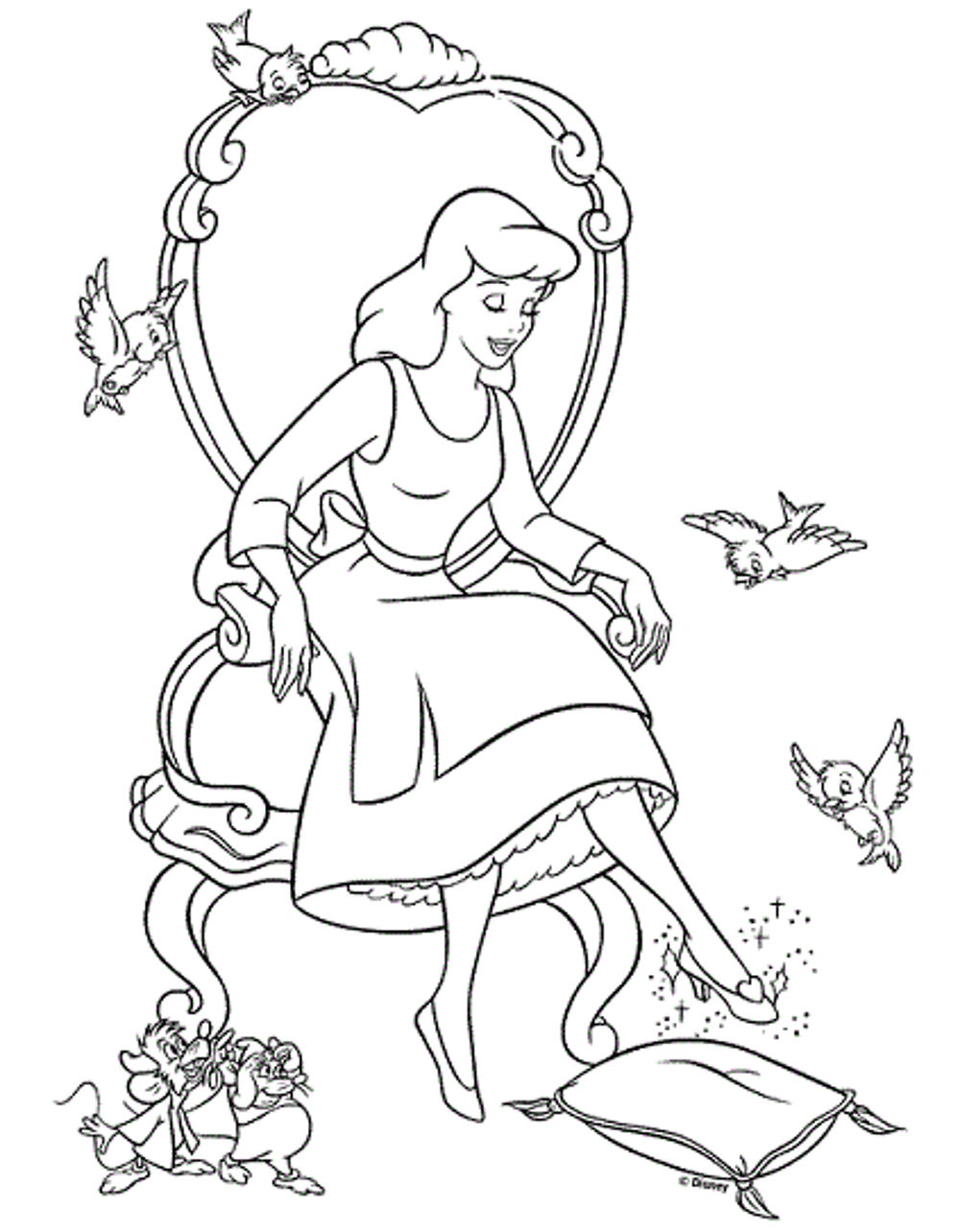 Print Download Impressive Cinderella Coloring Pages For Little Girls