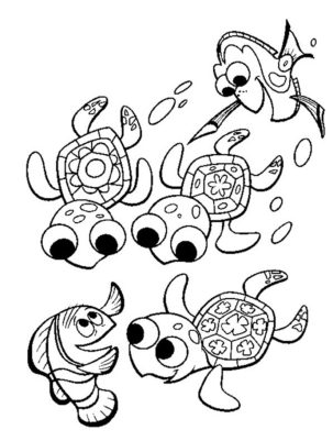 finding-nemo-and-sea-turtle-coloring-pages-printable