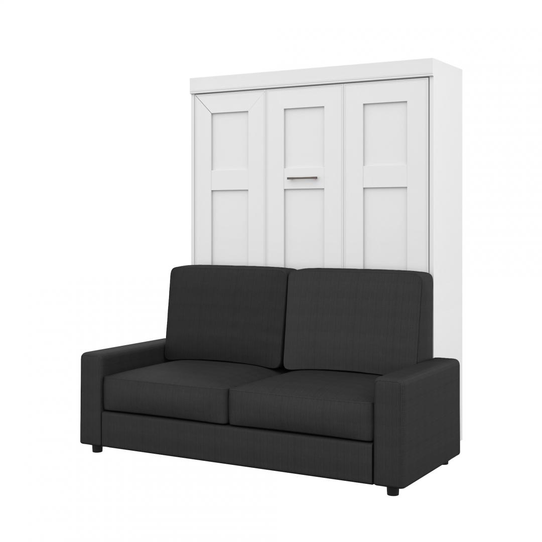 edge queen murphy bed and a sofa bestar