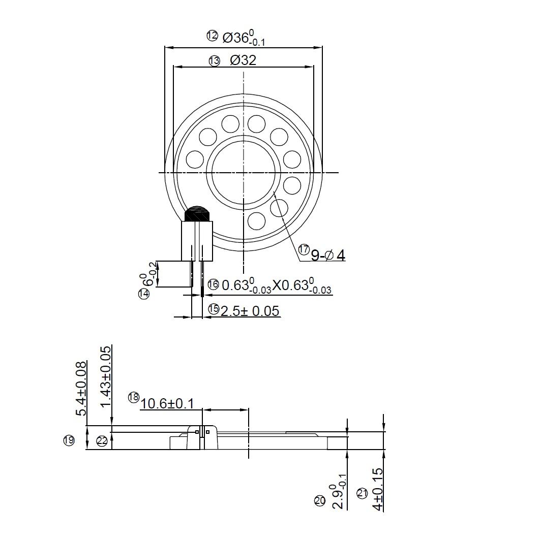 Round Speaker Diameter 36mm 0 5w 50 Ohms