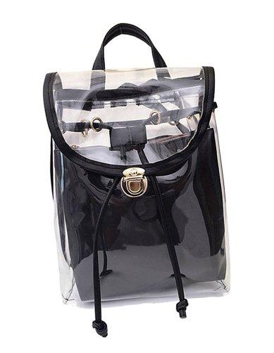 Jesdo Womens 2 in 1 Clear Drawstring Backpack