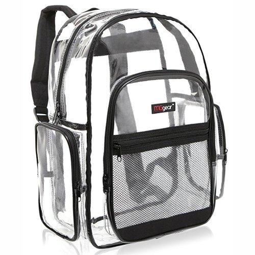 MGgear Clear Transparent PVC Multi-pockets School Backpack