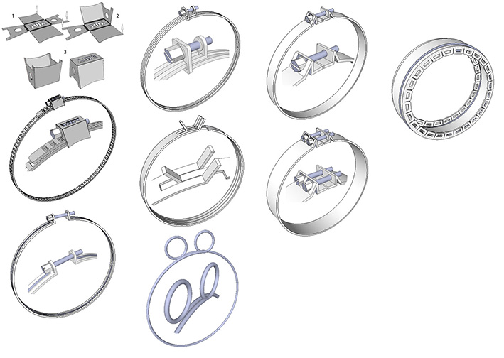 BBK: 1/12 HOSE CLAMPS 1/12, 9 DIFFERENT DESIGNS, 150+ CLAMPS