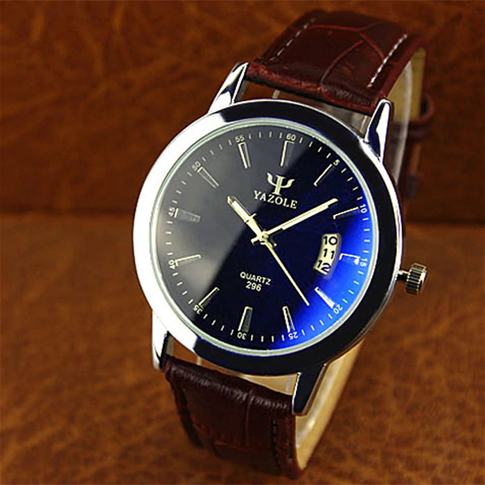 Yazole 296 Men's Leather Strap Wrist Watch