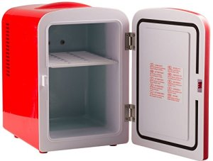 A mobile beer refrigerator.