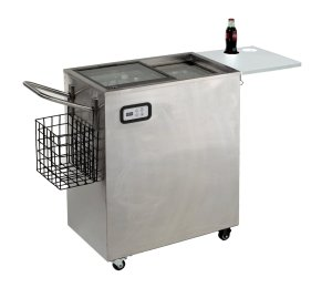 This outdoor beer refrigerator is really stylish.