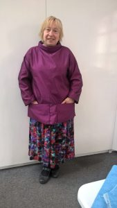 EIleen modelling one of our beautiful handmade Smocks.