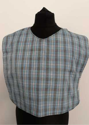 Blue check pattern bib