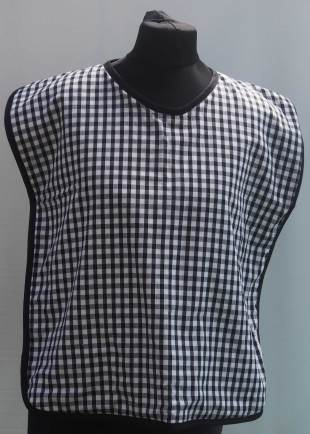 Extra Protection Black and White Gingham Bib
