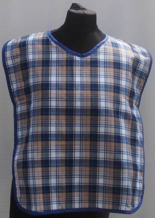 Extra Protection Blue/White Tartan Bib