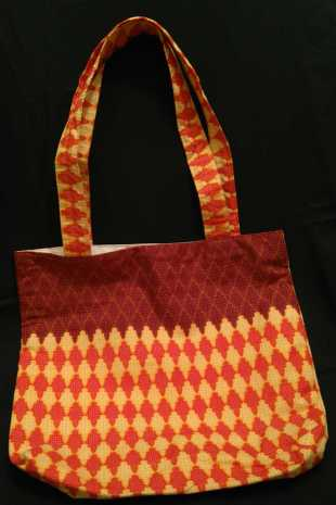 Handmade African Fabric Cream and Terracotta Bag