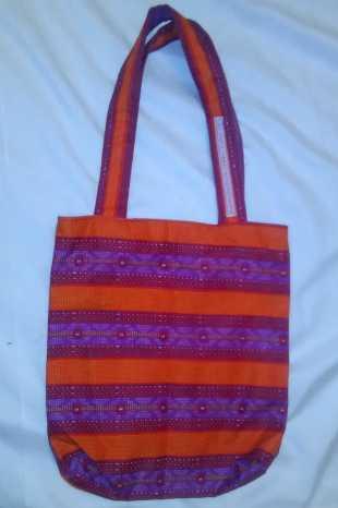 Childrens pink striped bag