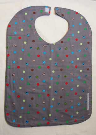 Grey with Ball Motif Bib