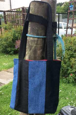 Handmade Up-cycled Denim Bag in Garden