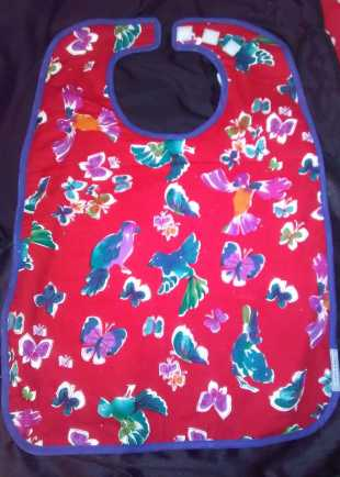 Red Floral and Bird Pattern Bib