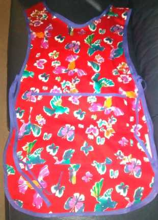 Red Floral and Bird Tabard