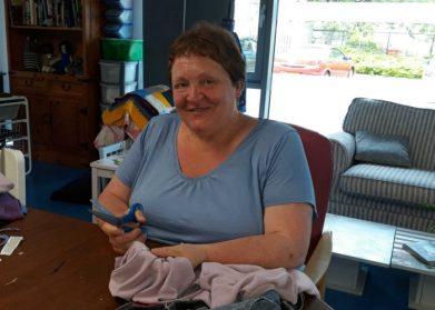 Lesley making her Memory Blanket