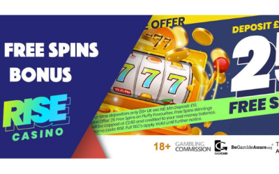 Rise Casino Bonus –  You Get 25 Free Spins with No Wagering Requirements + 15% Cashback