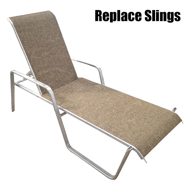 deck chair sling replacement wood legs commercial pool furniture patio repair refinishing we replace slings custom make and install for chairs lounges