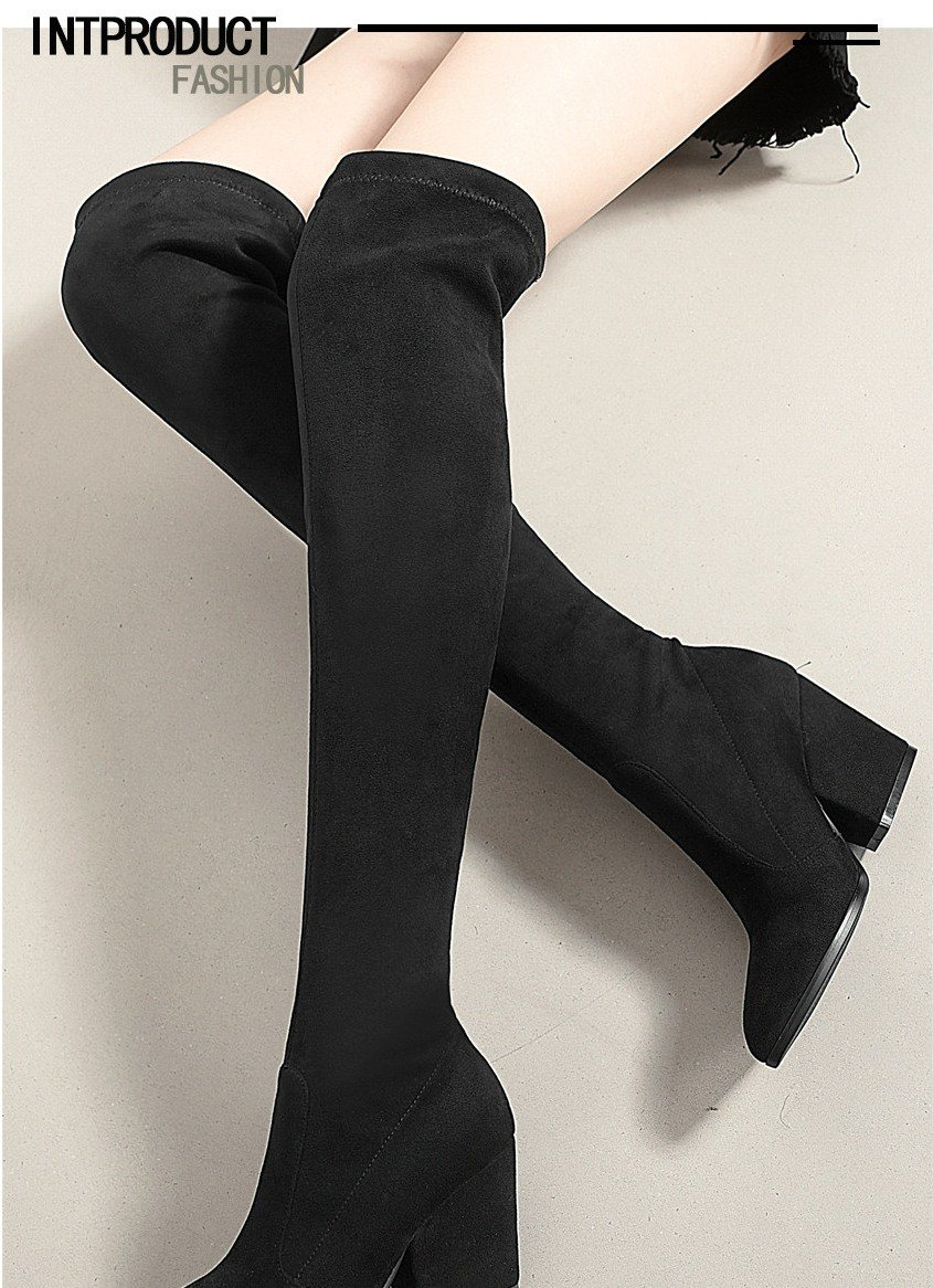 Women Hoof Heels Winter Shoes Pointed Toe Sexy Elastic Fabric Boots 12