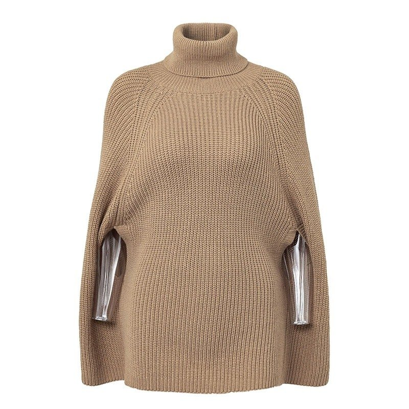 Women Knitted turtleneck cloak sweater 39
