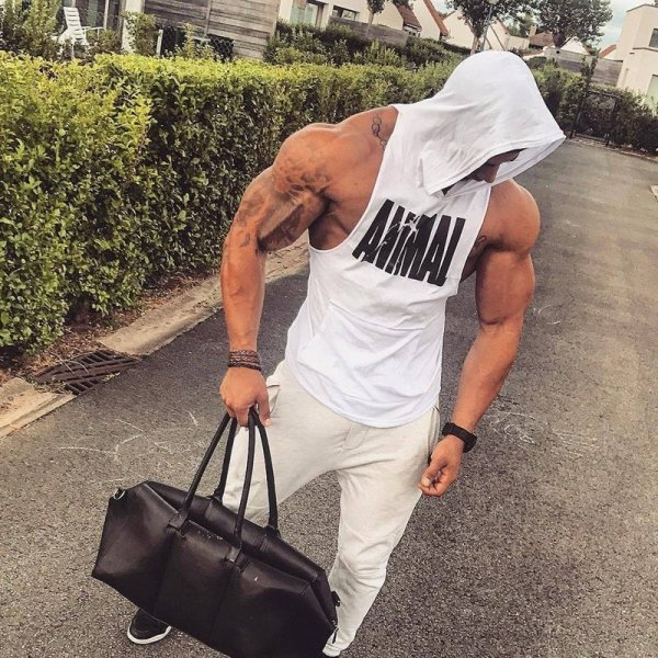 Men Bodybuilding Cotton Tank top Gyms Fitness Hooded Vest Sleeveless Shirt Summer Casual Fashion Workout Brand Clothing 3