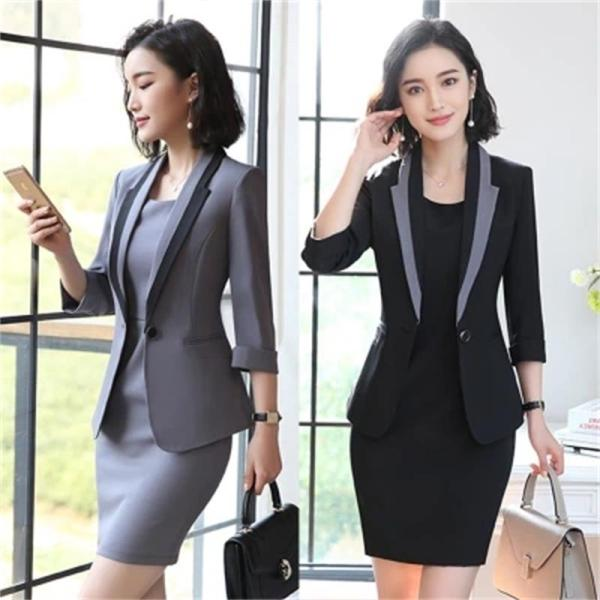 Hot Ladies Dress Suit for Work Full Sleeve Blazer Sleeveless Dress 2 Pieces Set 1