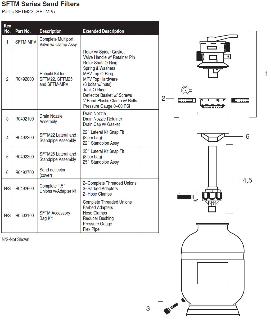 Jandy Sftm Series Sand Filter Parts