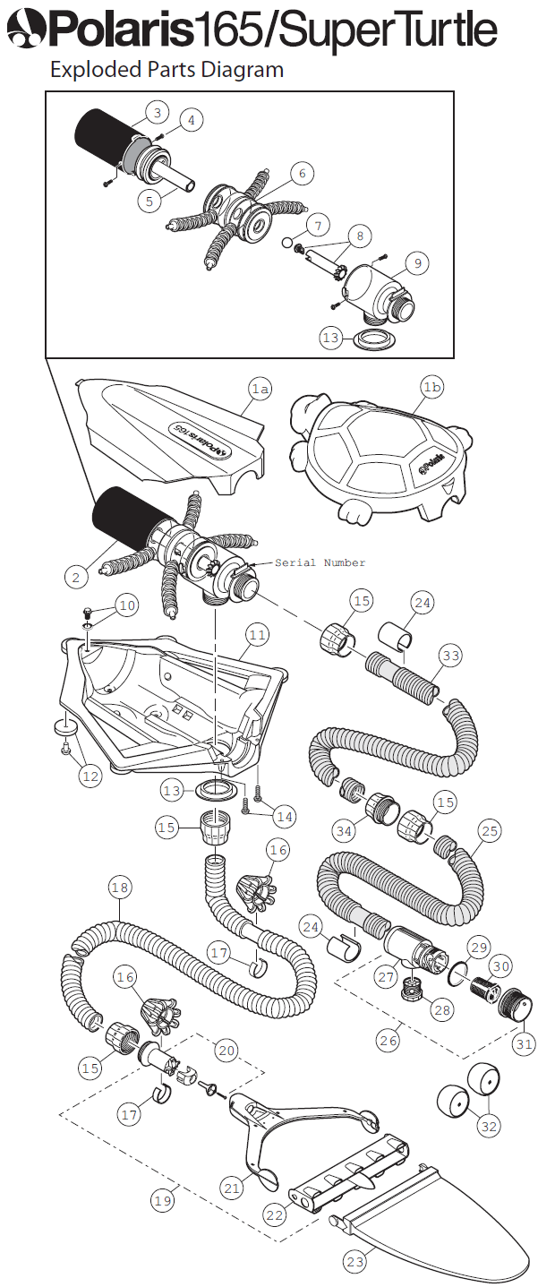 Polaris 165 and Super Turtle Pool Cleaner Replacement Parts