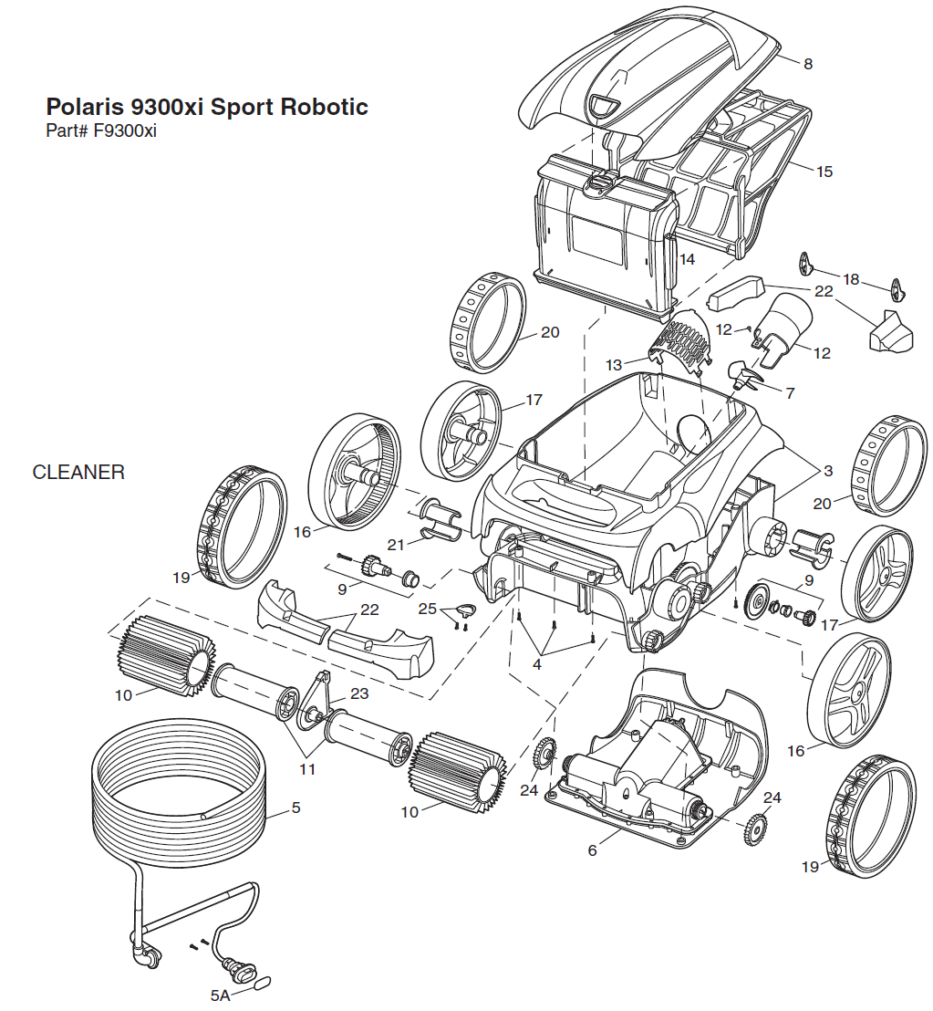 Polaris 9300xi Sport Pool Cleaner Replacement Parts