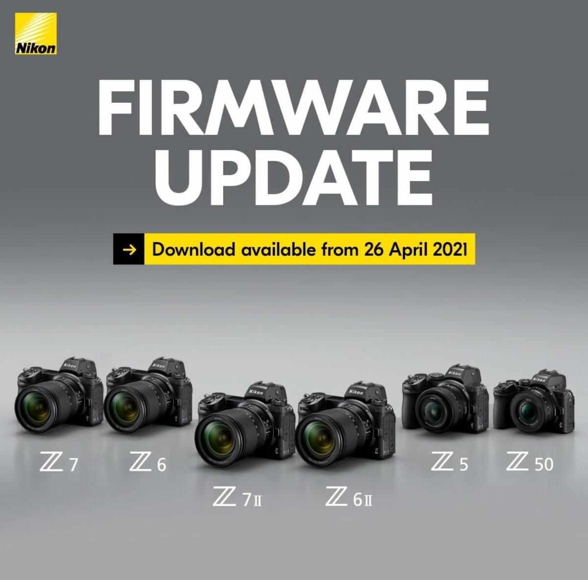 Nuovi aggiornamenti firmware per Nikon Z7 II, Z6 II, Z7, Z6, Z5 e Z50