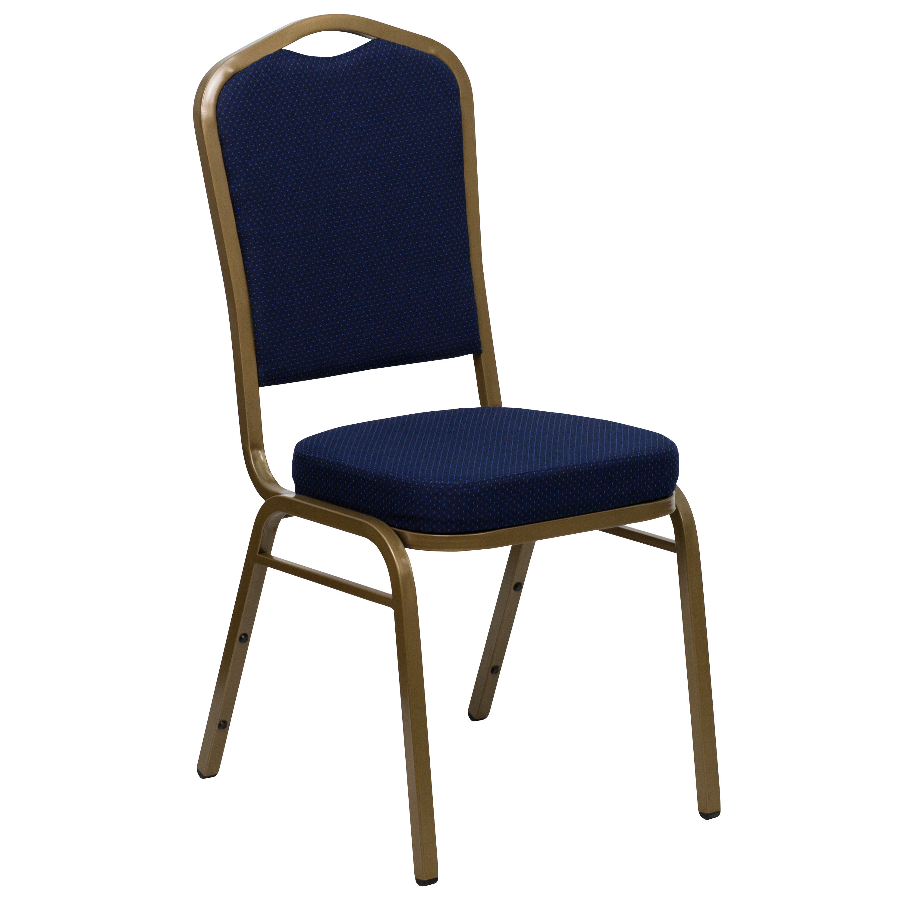 Hercules Series Crown Back Stacking Banquet Chair In Navy Blue Patterned Fabric Gold Frame