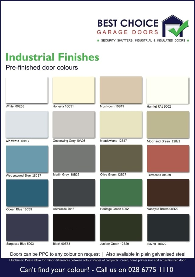 Industrial Doors Colour Chart