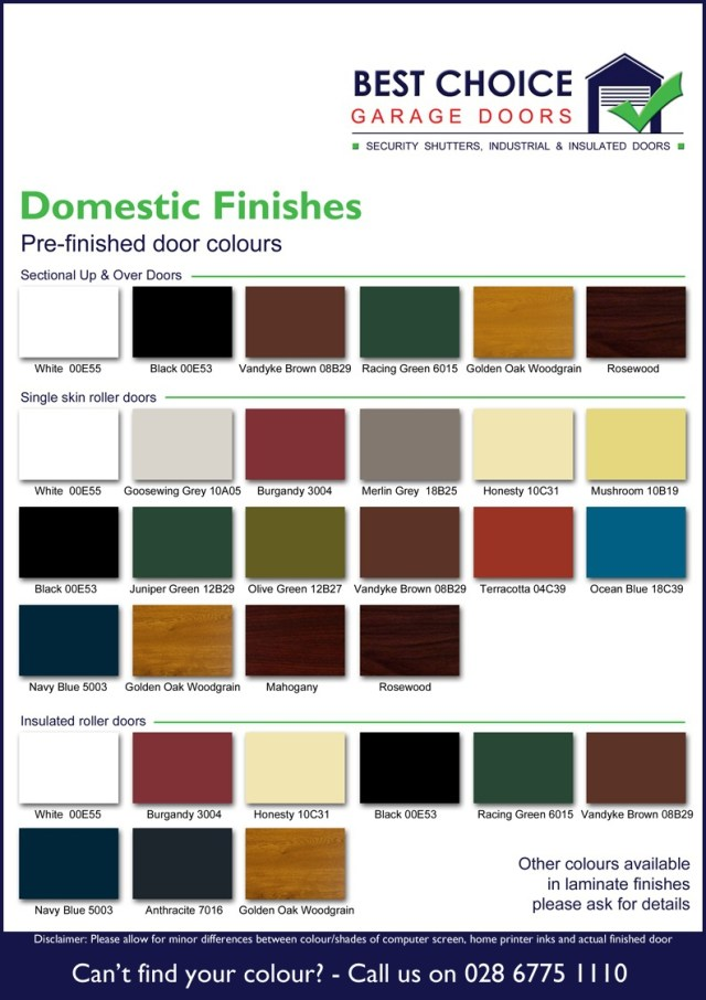 Residential Doors Colour Chart
