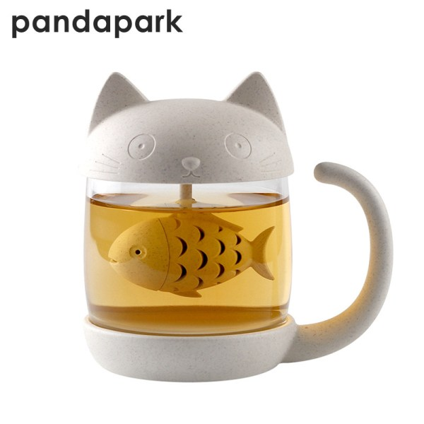 Pandapark Cute Cat Glass Personality Milk Mug With Infuser Office Coffee Tumbler Creative Breakfast Mugs