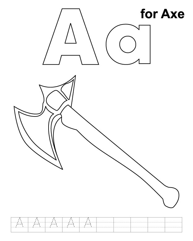 A for axe coloring page with handwriting practice