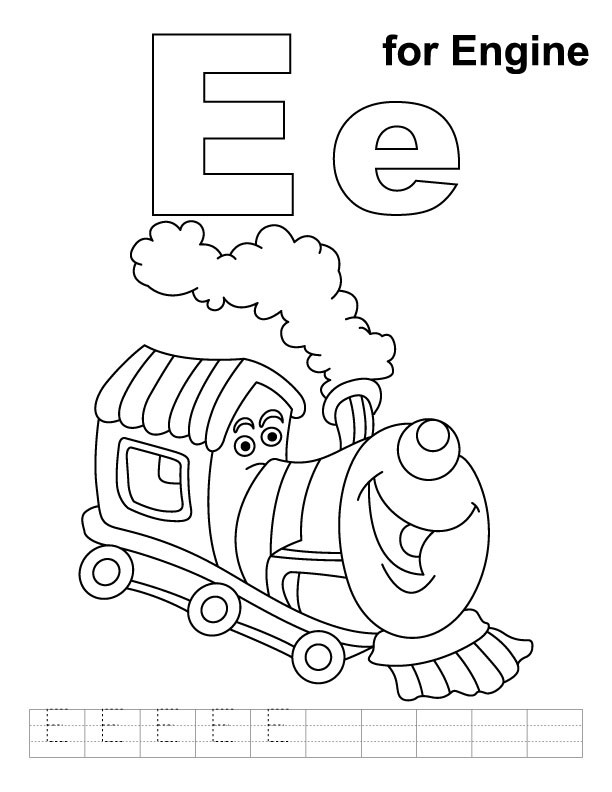 E for engine coloring page with handwriting practice