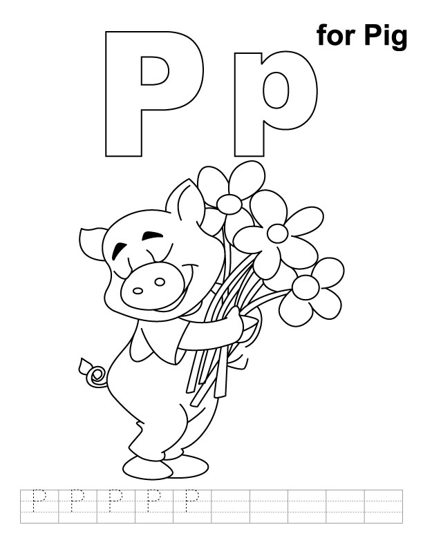 P for pig coloring page with handwriting practice