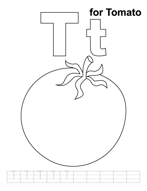 T for tomato coloring page with handwriting practice