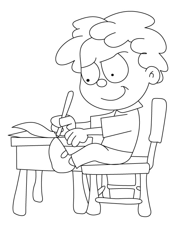 Children Writing Coloring Page Sketch Coloring Page